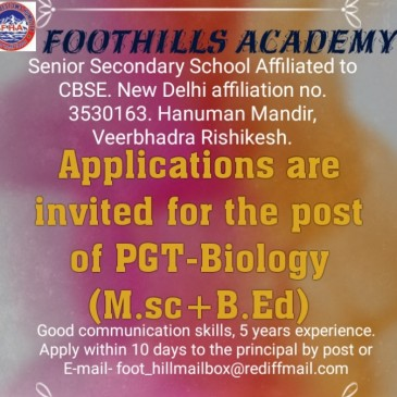 Advertisement for the Post of PGT (Biology).